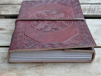 Celtic Knot Leather Journal with hand bound paper