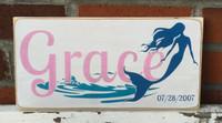 Little Girl Mermaid Name Sign