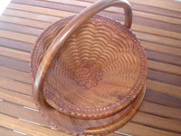 Collapsible Rustic Wood Basket 14 inch One Compartment