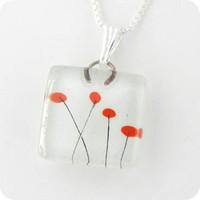 Glass Pendant Charm - Momo Poppies