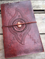 large leather journal - old world style with tooling and stone