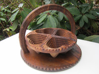 Collapsible Wooden Basket 12 inch Four Compartment