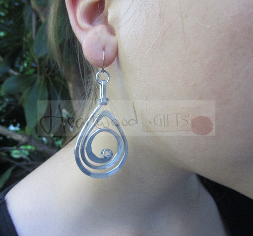 aluminum spiral teardrop earrings