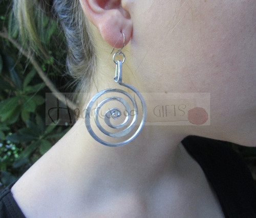 aluminum spiral circle earrings