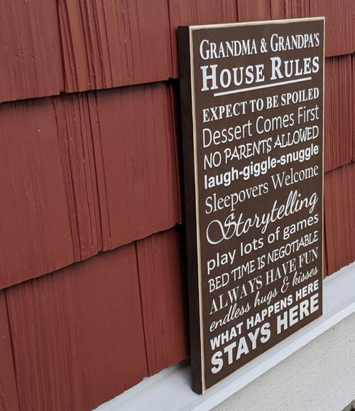 Side view of House Rules Sign for Grandma and Grandpa