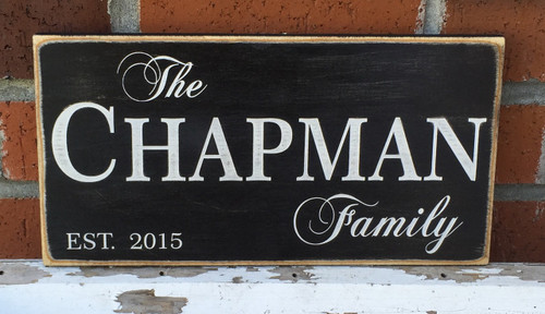 Rustic Farmhouse Family Name Sign with Established Year