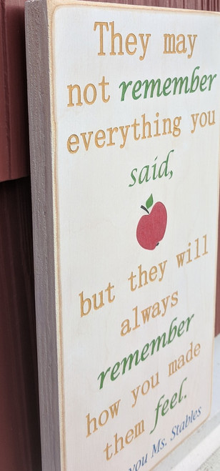 Personalized teacher sign - side profile