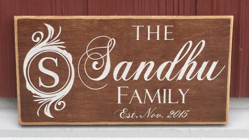 Family Name Monogram Sign
