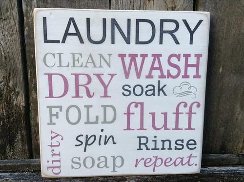 laundry wood sign