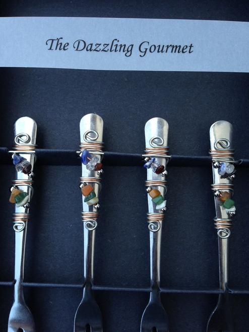 fiesta stone beads on appetizer forks