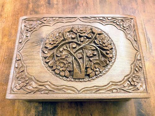 "Rustic Wooden Jewellery Box ""Love's Bouquet"""