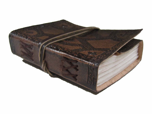 embossed leather journal - small - side view