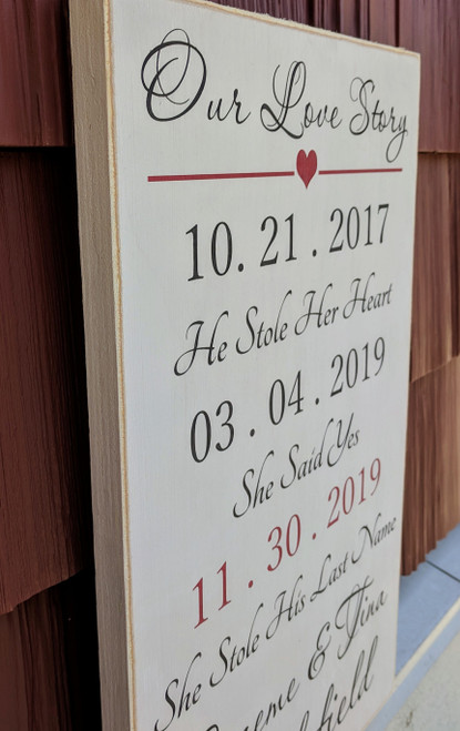 Our Love Story Personalized Sign - Side View