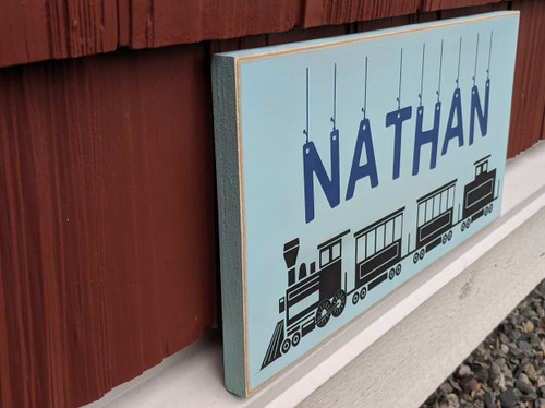 Personalized Kids Name Sign with Train - Side View