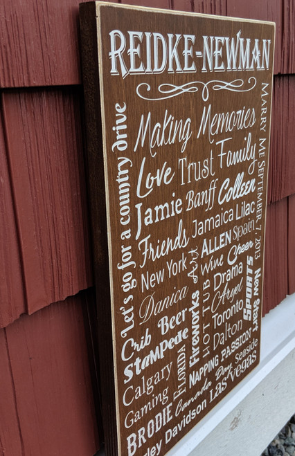 Custom personalized family memories sign - side view