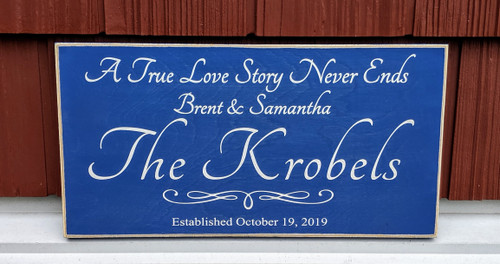 A True Love Story Never Ends Family Sign