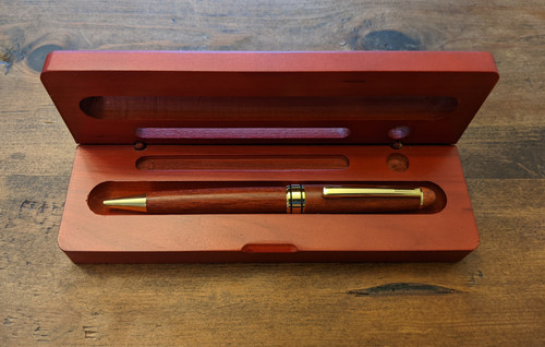 rosewood pen case closed with business card slot and pen stand