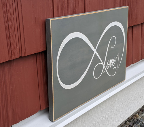 Love Eternity wood sign - side view