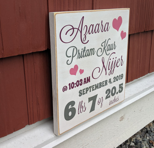 Baby birth stats wood sign - side view