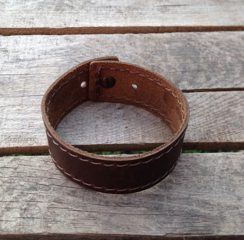 Stitched leather wrist band - engravable