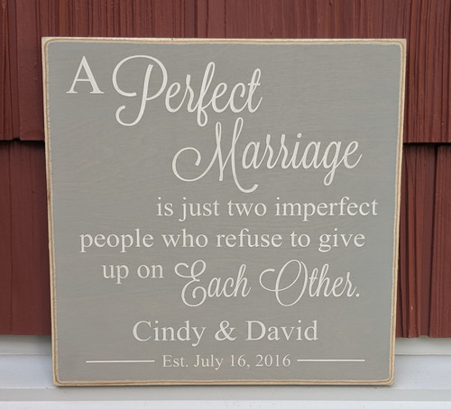 A Perfect Marriage Personalized Wood Sign