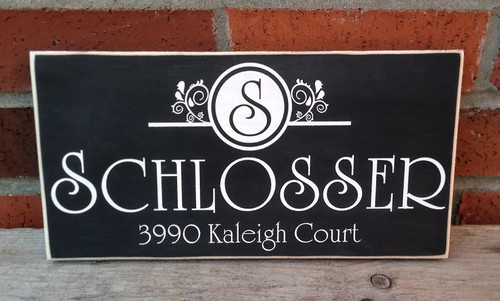 Family name and address sign featuring a vintage french style monogram
