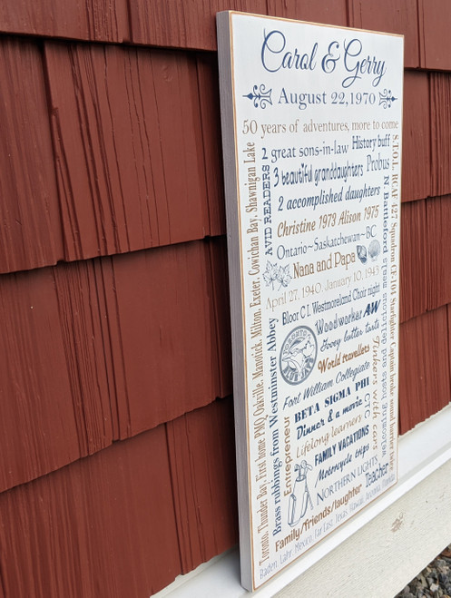 Custom Family Memories Sign - side view