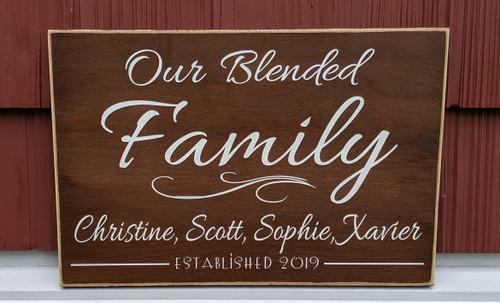 Custom blended family name sign