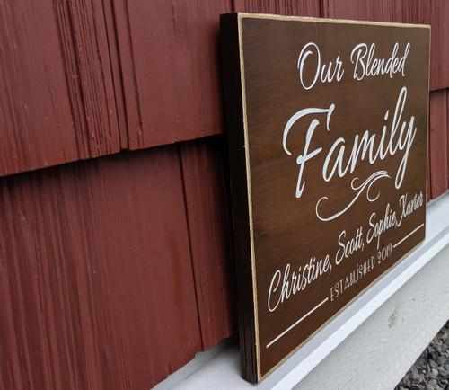 Custom blended family name sign - side view