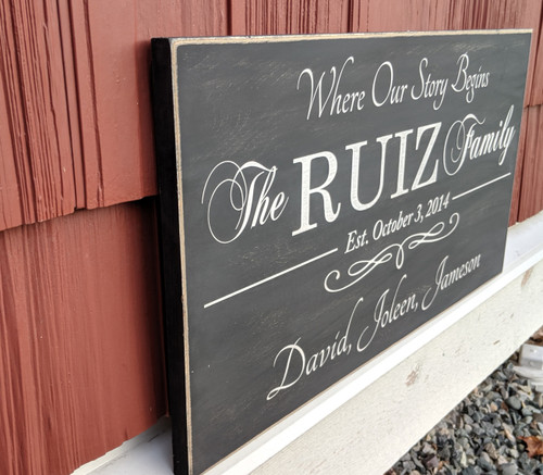 Where our family begins - rustic family sign - side view