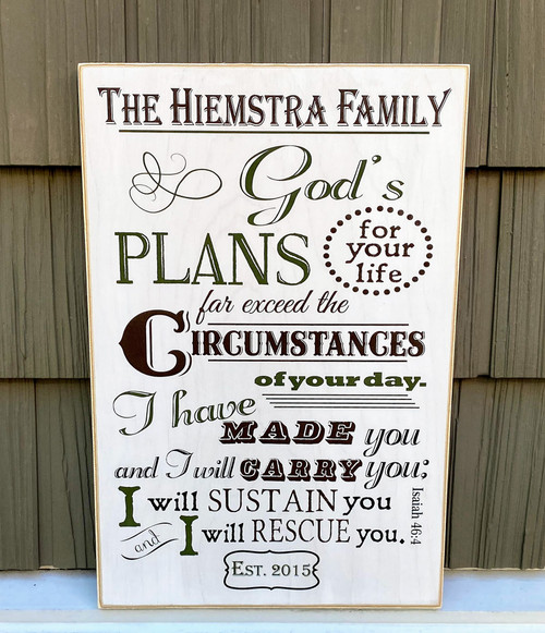 Personalized Family Sign - God's Plans For Your Life. Isaiah 46:4