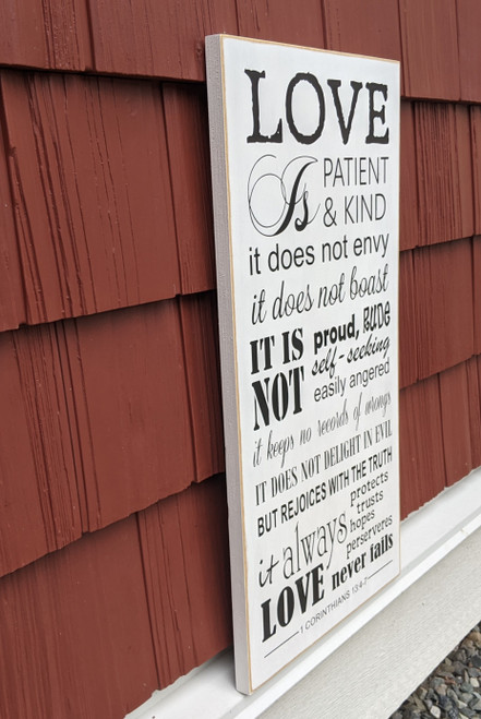 Love is Patient wood sign - side view