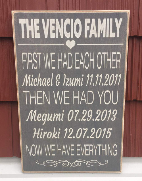First We Had Each Other Now We Have Everything Family Wall Wood Sign