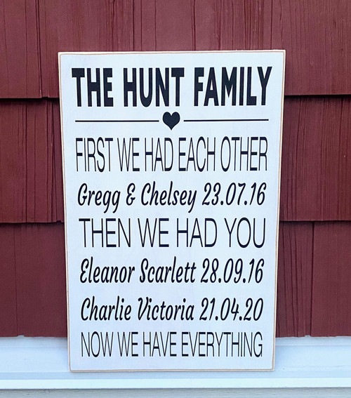 Custom Family Sign - First We Had Each Other Now We Have Everything