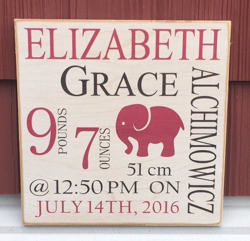 Baby Birth Announcement Signs   Baby Nursery Signs