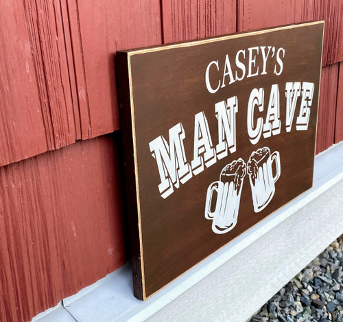 Personalized Man Cave Sign - side view
