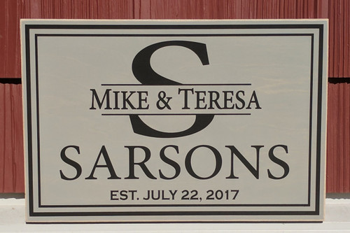 Family Monogram Personalized Sign 12x18