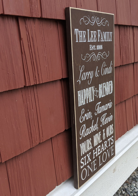 Side View of Happily Blended Family Personalized Family Sign