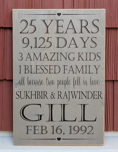 25 Year Anniversary Family Sign