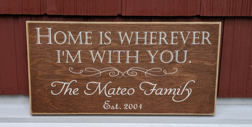 Home Is Wherever I'm With You - family sign with established date sign