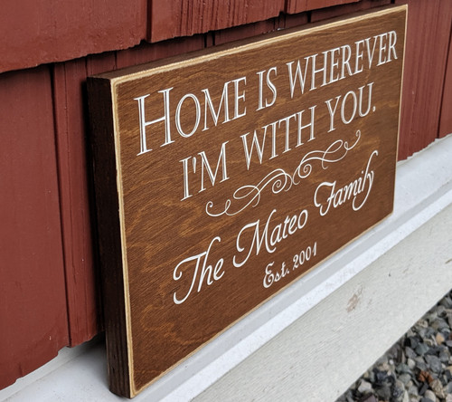 Home Is Wherever I'm With You - family name sign