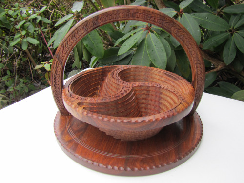Collapsible Wooden Basket 16 inch Three Compartment