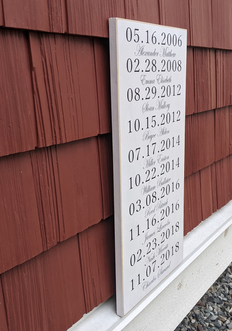 sign with children's names and birthdates - black & white