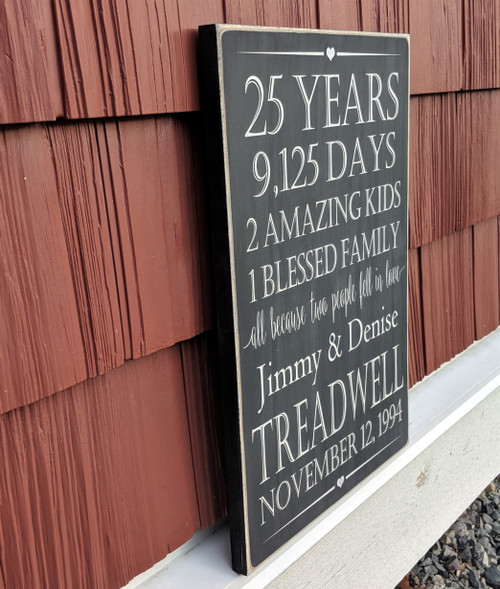 Anniversary Family Name Sign - side view