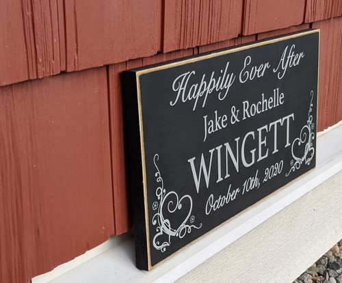 Side View of Personalized Sign with Happiliy Ever After