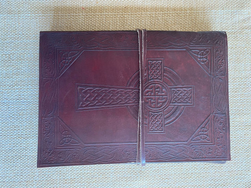 AS PICTURED - Celtic Leather Journal - Cross. - 10 x 7