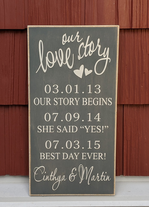Our Love Story Custom Couple's Sign