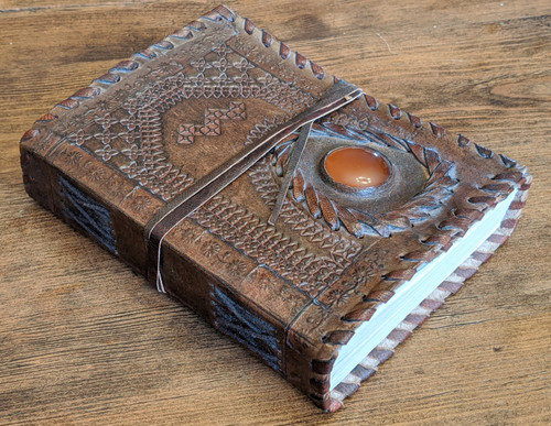 LEATHER JOURNAL - Old World Style - side view with stitching