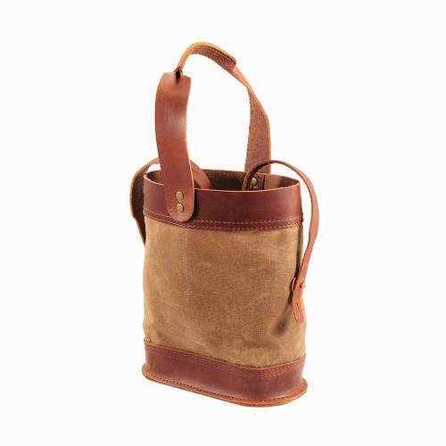 Double Wine Bottle Tote - Leather and Wax Canvas