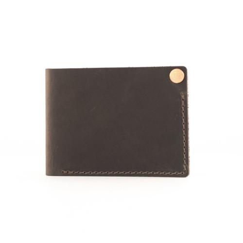Rustico Minimalist Bifold Leather Wallet - Dark Brown - Back